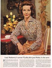 1960 LADY HATHAWAY Viyella Paisley Shirt VTG Print Ad