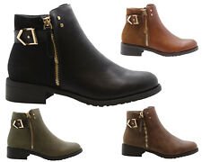 New Womens Ladies Chelsea Ankle Boots Winter Zip Pull On Casual Flat Shoes Sizes