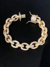 Men's Iced Out Hip Hop Rolo Bracelet 14k Gold Over Solid 925 Silver Diamond 12mm