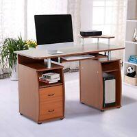 HomCom Wooden Computer Desk Study Table PC Desktop with Print Shelf Furniture