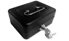 Small Lock Box Fireproof Money Keeper Cash Jewelry Gold Black Security Chest Key