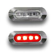 2 x 12V Feux Arrière LED Rouge contour de phare chromé CAMION REMORQUE CARAVANE