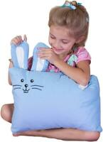 Kinder Fluff Toddler Pillow & Pillowcase -100% Cotton White Pillow & Blue Bunny