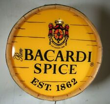 Vintage 1996 Bacardi Spice Rum Wood Barrel End Wall Hanging Lighted Sign Display
