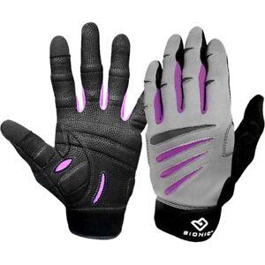 Bionic Women's Cross-Training Full Finger Fitness Gloves - Gray/Black/Purple