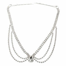 Chain Headpiece Forehead Band With Hairpin Alloy Rhinestone V8S5
