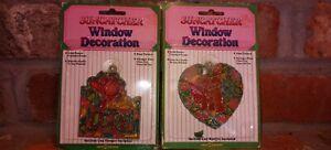 """Suncatcher Window Decoration Lot New Design Vtg 3"""" Hug Bears Love Stain Glass dc"""