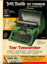 1956 ADVERT 4 PG Tom Thumb Toy Typewriter Cash Register COLOR Western Stamping