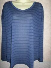 MARKS AND SPENCER NAVY STRIPED STRETCHY V NECK TOP WITH LINEN BLEND SIZE 16