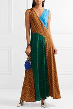 DVF Diane von Furstenberg Cutout Polka Dot Silk Crepe Floor Length Maxi Dress S