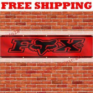 Fox Racing Logo Banner Flag 2x8 ft Car Show Garage Wall Decor Sign 2021 NEW
