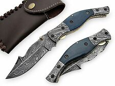 Damascus Steel Open Pocket Knife Camel Bone Handle Hand Made With Leather Sheath