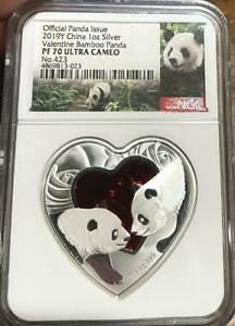 2019 Y Valentine Bamboo Panda Heart Shaped 1 oz Silver NGC PF 70 UCAM with COA