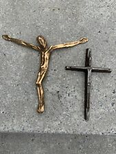 Vintage Crucifix Jesus Set One Is Brass Other Is Iron Made In Belgium