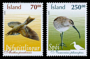 Iceland 2003 Birds, Meadow Pipit & Whimbrel, set of 2, MNH / UNM