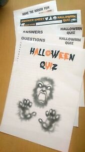 Halloween Quiz Game 40 Questions with Picture Round 20 Players Answer Sheets Pub