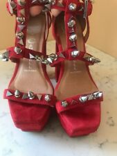 JEFFREY CAMPBELL IBIZA TOLEDO HANDMADE RED SUEDE STUD/SPIKES PLATFORMS SIZE 6.5
