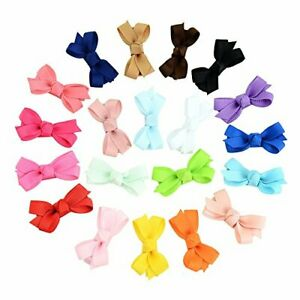 20PCS Newborn Baby Girl Snap Hair Bow Clips Tiny Bow Knot Barrettes Non COLOR A