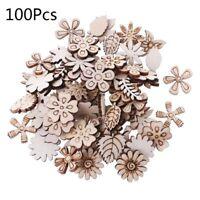 100pcs Laser Cut Wood Flowers and leaves Embellishment Wooden Shape Craft Decors