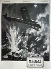 1941 WW2 Armstrong Whitworth 'WHITLEY' Bomber Airplane Advert - Wartime Print Ad