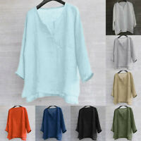 Mens Solid Color Long Sleeve Tops Loose Casual Loose T-shirt Blouse Plus Size