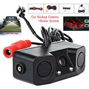 3in1 170° Car Reversing Rear View Camera Backup Radar Parking Sensor in one Cam