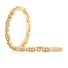 Engagement Diamond Eternity Band Size 6 Round Women Solid 14k Yellow Gold 0.20Ct