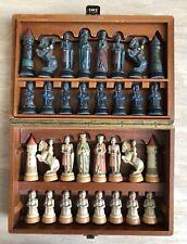 Vintage ANRI Toriart Charlemagne Hand Painted Resin Chess Set Original Wood Box