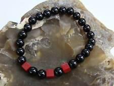 Brazalete Elástico delicado Piedras preciosas Naturales 8 mm Rojo Negro Ágata Jade Granos