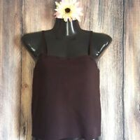 Jennings Silk Brown Knit Crop Cami Tank Blouse Spaghetti Strap Detailed sexy  M