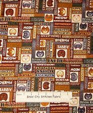 Kitty Cat Animal Fabric ~ Cotton By The Yard ~ Rjr Wild Cats Dan Morris Breed