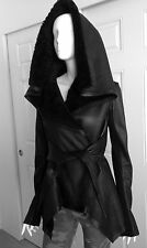 Rick Owens Black Leather Shearling Coat Jacket Small 40 2 Wide Collar 4