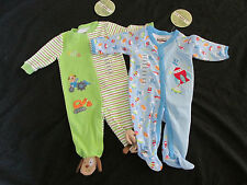 New w/Tag Lot of 2 Infant/Baby Boy's Sleepers Kirkland Button Up Pajamas 3 Month