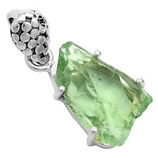 Green Amethyst Rough 925 Sterling Silver Pendant Jewelry 6195P