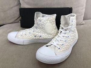 Unique Womens CONVERSE All Star White Rubber Gem Chuck Taylor Shoes US 8 [CS4]
