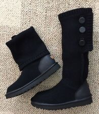 UGG Womens Size 8 Classic Cardy Cashmere Black Tall Sweater Boots 1014460