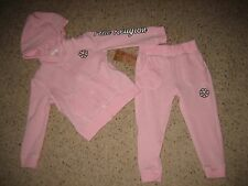 True Religion Toddler Girls Flower Power Hoodie Sweatshirt Pants Set Pink 2T NWT