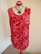 TAKING SHAPE White Red Black TOP Size S 16 Floral Sleeveless Burgundy Coral