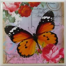 New listing Set of 4- Handmade Natural Stone Ceramic Tile Drink Coasters - Butterflies 5 - J