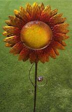 Garden Lawn Yard Decoration flower Sunflower metal & glass pick stake NEW 43 tal