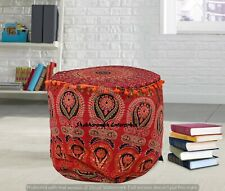 Indian Red Peacock Mandala Moroccan Handmade Cotton Ottomans Round Footstools