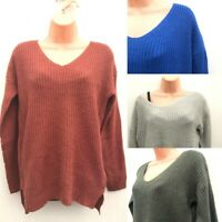 Ex TOPSHOP Chunky Knit V Neck Jumper 4 Colours Sizes 6-16 **NEW**