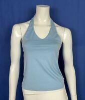 top maglia maglietta crop usato donna M azzurro blu estiva mare spiaggia T4861