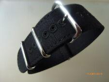 Canvas Strap Leinen Uhrband 22 mm schwarz Edelstahl Dornschließe Nato Zulu