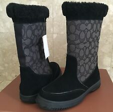 Coach Boots Sherman Signature Suede/Sig C Black/ Black Smoke Size 6M Or 7m