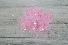 6 Pearl Effect Tulle Rosette Spray On Wire Diamante 6 Stems Wedding Bouquets