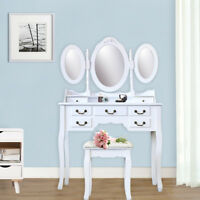 7 Drawer Vanity Table Set Dressing Table with Cushioned Stool Makeup Table White
