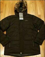 Eddie Bauer Men's Boundary Down Pass Parka Faux Fur Hooded Black Size XL