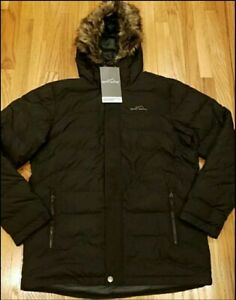 NEW Eddie Bauer Mens Boundary Down Pass Parka Faux Fur Hooded Black Large
