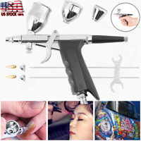 3 Tips 3 Cups All-Purpose Gravity Dual-Action Spray Gun Trigger Airbrush Paint
